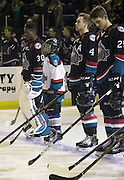 KELOWNA, CANADA - SEPTEMBER 28:  Pepsi player in the line up with Michael Herringer #30 of Kelowna Rockets, Gordie Ballhorn #4 of Kelowna Rockets, Cal Foote #25 of Kelowna Rockets at the Kelowna Rockets game on September 28, 2016 at Prospera Place in Kelowna, British Columbia, Canada.  (Photo By Cindy Rogers/Nyasa Photography,  *** Local Caption ***