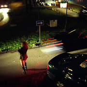 A transexual illegal immigrant from Brazil waits for clients in a drive-in prostitution zone in Amsterdam..Picture taken 2002 by Justin Jin. ..