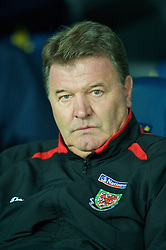 COPENHAGEN, DENMARK - Wednesday, November 19, 2008: Wales' manager John Toshack MBE before during the international friendly match against Denmark at the Brøndby Stadium. (Photo by David Rawcliffe/Propaganda)