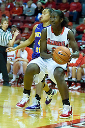 01 January 2011:  Candace Sykes makes a baseline move on K.K. Armstrong during an NCAA Women's basketball game between the Northern Iowa Panthers and the Illinois State Redbirds at Redbird Arena in Normal Illinois.