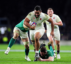 Billy Vunipola of England takes on the Ireland defence - Mandatory byline: Patrick Khachfe/JMP - 07966 386802 - 27/02/2016 - RUGBY UNION - Twickenham Stadium - London, England - England v Ireland - RBS Six Nations.