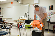 Jeff Montgomery prepares his class at Westlake High School in Austin, Texas on August 10, 2015. (Cooper Neill)