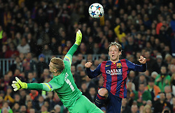 Barcelona's Ivan Rakitic scores a goal by chipping Manchester City's Joe Hart - Photo mandatory by-line: Dougie Allward/JMP - Mobile: 07966 386802 - 18/03/2015 - SPORT - Football - Barcelona - Nou Camp - Barcelona v Manchester City - UEFA Champions League - Round 16 - Second Leg