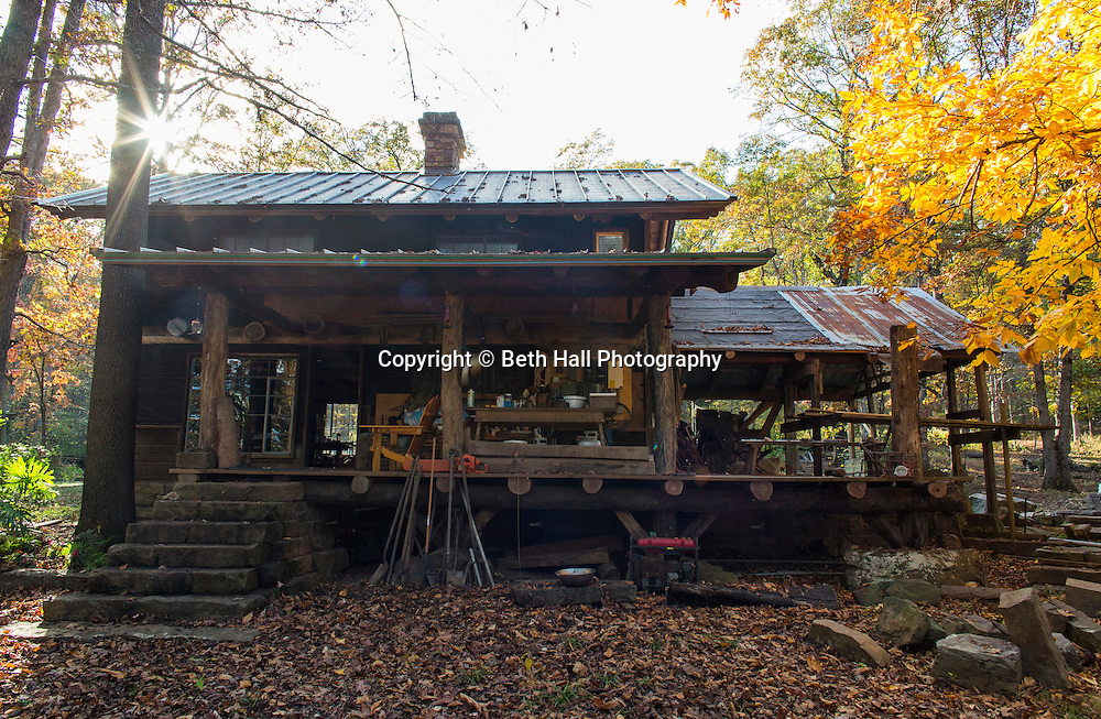 View of the back of the home of Robert Runyon in Sugar Tree Hollow in Winslow, Arkansas, for Out Here Magazine. Photo by Beth Hall