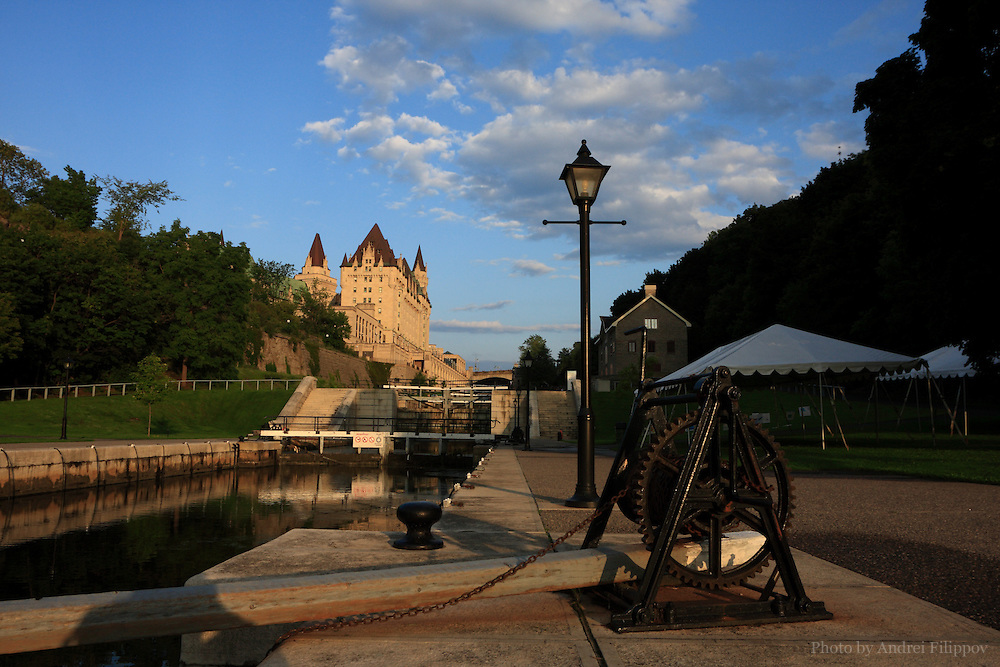 Chateau Laurier Hotel at the locks of the Rideau Canal in Ottawa, ON, Canada - August 2, 2009.