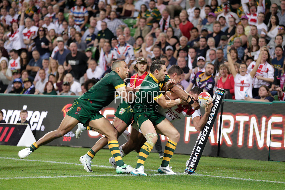 Ryan Hall of England gets taken over the try line during the Rugby League World Cup match between Australia and England at Melbourne Rectangular Stadium, Melbourne, Australia on 27 October 2017. Photo by Mark  Witte.