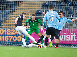 Falkirk's Conor McGrandles scoring their goal.<br /> Half time : Falkirk 1 v 0 Dundee, Scottish Championship game at The Falkirk Stadium.<br /> &copy; Michael Schofield.