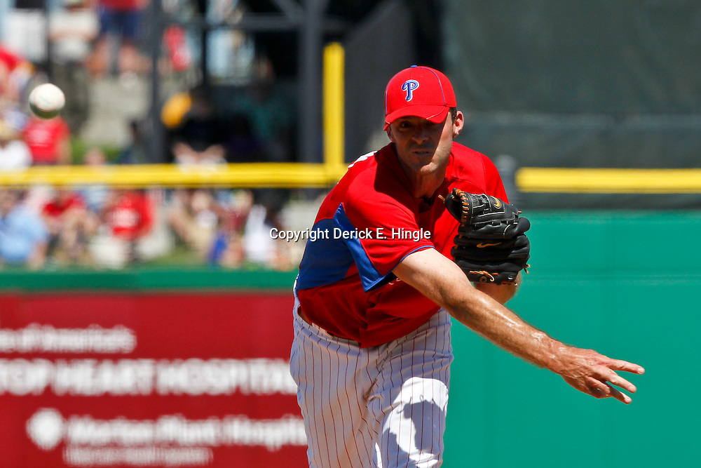March 05, 2011; Clearwater, FL, USA; Philadelphia Phillies pitcher Scott Elarton (59) during a spring training game against the New York Yankees at Bright House Networks Field. Mandatory Credit: Derick E. Hingle-US PRESSWIRE