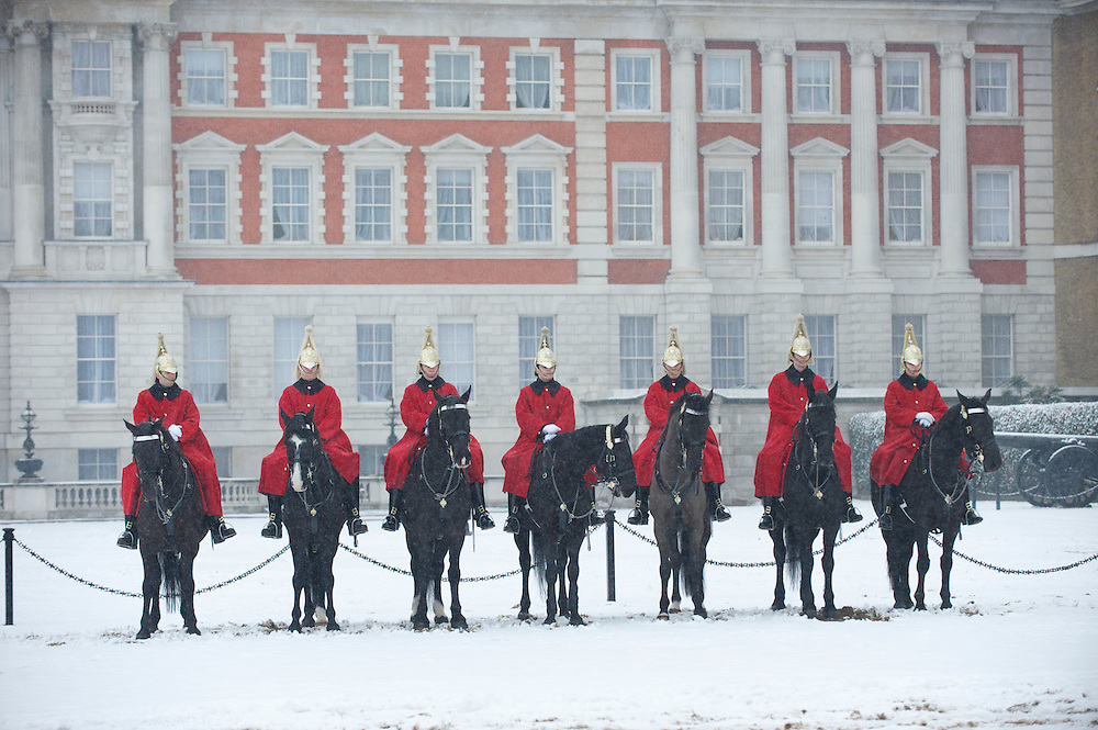 The Queen's Life Guard on horseback at the Changing of the Guard Horseguards Parade in the snow in London