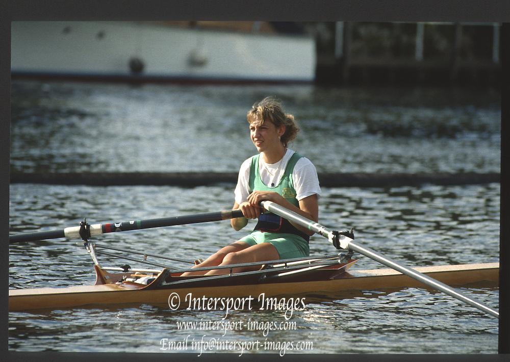 Henley, England,  GBR  Rachel HIRST/STANHOPE. 1990 Women's Henley Regatta, Henley Reach, River Thames Oxfordshire <br /> <br /> <br /> [Mandatory Credit; Peter Spurrier/Intersport-images] 1990 Henley Women's Regatta, Henley,