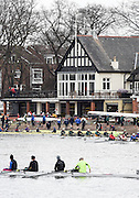 London, Great Britain.<br /> General View across the River at the Quintin Boat house and Mortlake Anglian &amp; Alpha slip way. as crews boat to compete at the <br /> 2016 Veterans&rsquo; Head of the River Race, Reverse Championship Course Mortlake to Putney. River Thames. Sunday  20/03/2016<br /> <br /> [Mandatory Credit: Peter SPURRIER;Intersport images]
