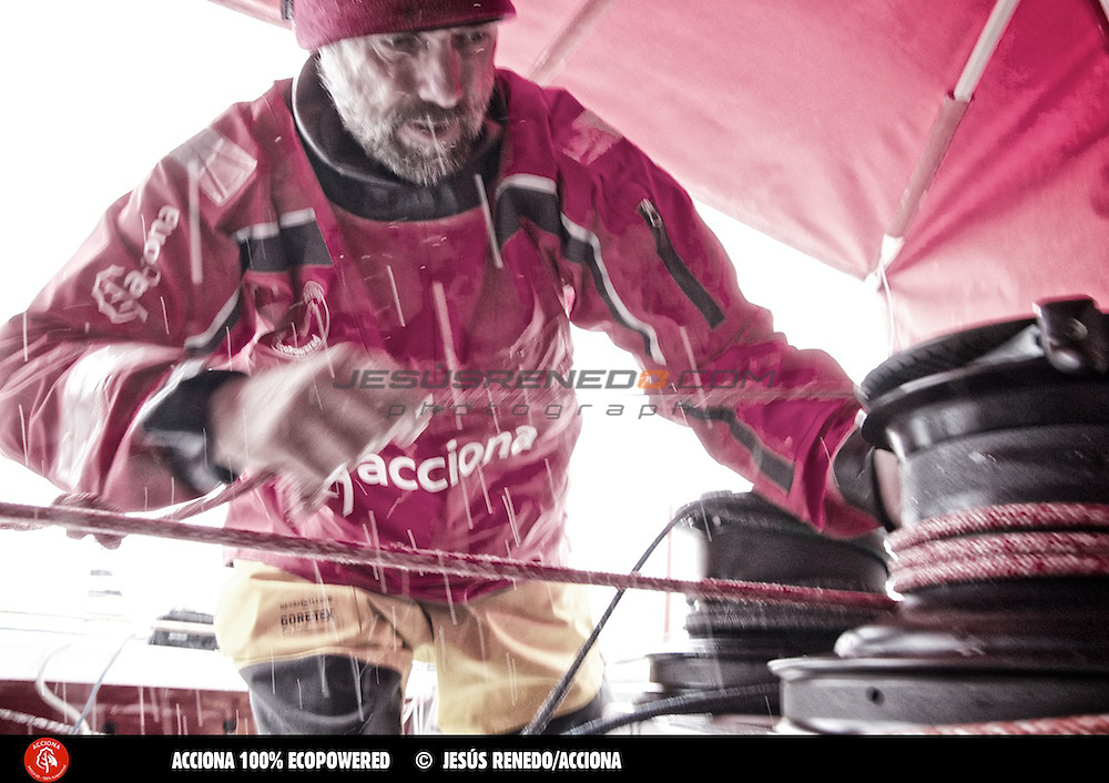 Javier Sanso, training on his Imoca 60 Acciona 100x100 Ecopowered