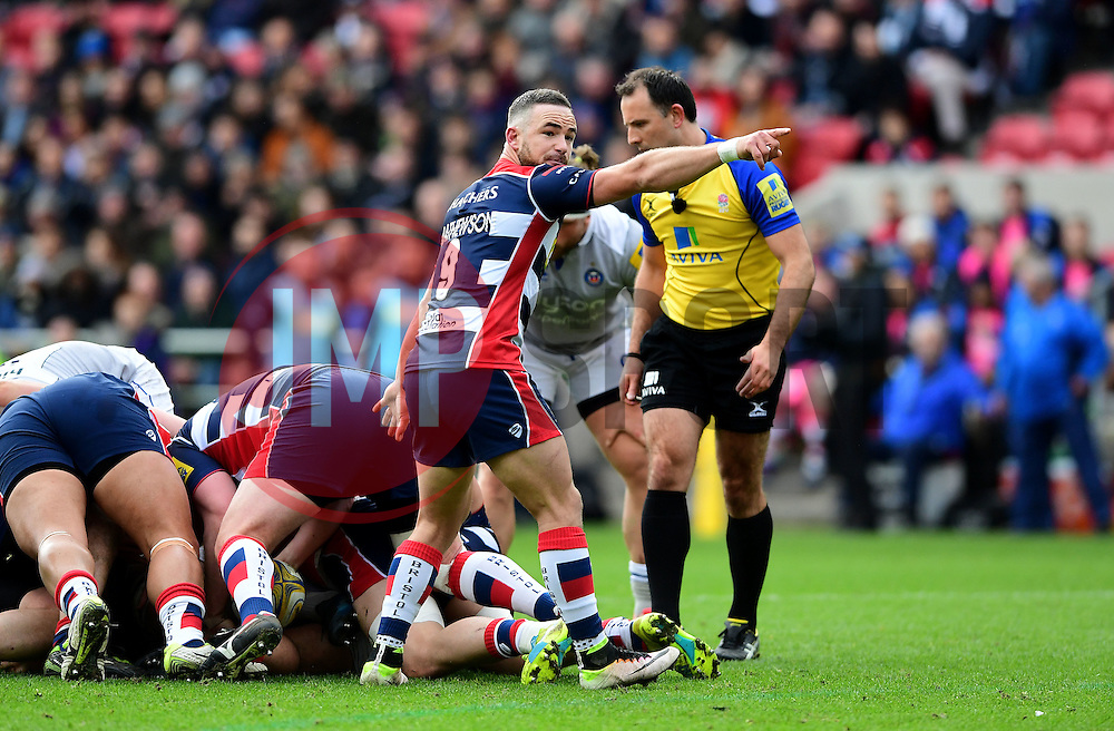 Alby Mathewson of Bristol Rugby organises play  - Mandatory by-line: Joe Meredith/JMP - 26/02/2017 - RUGBY - Ashton Gate - Bristol, England - Bristol Rugby v Bath Rugby - Aviva Premiership