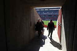 28-07-18 Emirates Airline Park, Johannesburg. Super Rugby semi-final Emirates Lions vs NSW Waratahs. Three men walk out an exit in the stadium before the start of the semi-final. Picture: Karen Sandison/African News Agency (ANA)