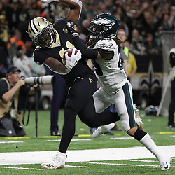 Jan 13, 2019; New Orleans, LA, USA; New Orleans Saints running back Alvin Kamara (41) is forced out of bounds by Philadelphia Eagles free safety Avonte Maddox (29) during the third quarter of a NFC Divisional playoff football game at Mercedes-Benz Superdome. Mandatory Credit: Derick E. Hingle-USA TODAY Sports