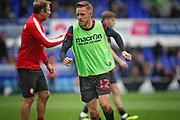 Bolton Wanderers midfielder Craig Noone (12) warming up before the EFL Sky Bet Championship match between Ipswich Town and Bolton Wanderers at Portman Road, Ipswich, England on 22 September 2018.