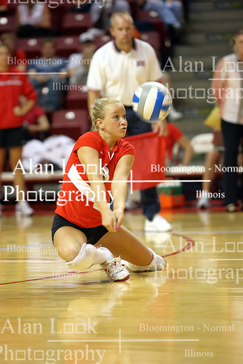 21 September 2007: Kasey Mollerus slides right and goes to the planks for a dig. The Wichita State Shockers bested the the Illinois State Redbirds on the floor of Doug Collins Court in Redbird Arena on the campus of Illinois State University in Normal Illinois taking the match in three games.
