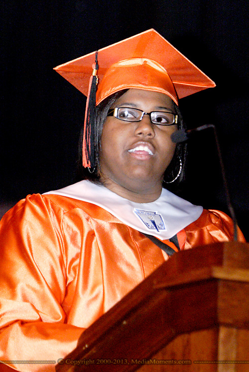 Sharonda Martin delivers her 'The Things We Leave Behind' address during the Stivers School For The Arts commencement at the Dayton Masonic Center, Wednesday, May 25, 2011.