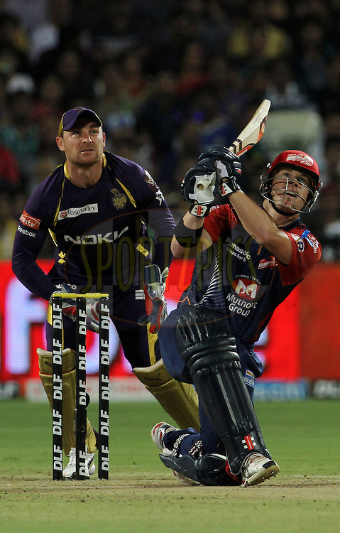 Delhi Daredevils player David Warner plays a shot during the first Qualifying match of the Indian Premier League ( IPL) 2012  between The Delhi Daredevils and The Kolkata Knight Riders held at the Subrata Roy Sahara Stadium, Pune on the 22nd May 2012..Photo by Vipin Pawar/IPL/SPORTZPICS