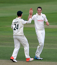 Nottinghamshire's Matt Carter celebrates the wicket of Somerset's James Hildreth - Photo mandatory by-line: Harry Trump/JMP - Mobile: 07966 386802 - 15/06/15 - SPORT - CRICKET - LVCC County Championship - Division One - Day Two - Somerset v Nottinghamshire - The County Ground, Taunton, England.