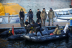 "Military Divers prepare to go to the Wrecked Cruise Ship ""Costa Concordia"" in Giglio, Italy, Photo By Nick Cornish/ I-Images"