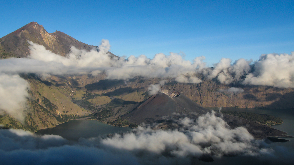 Rinjani Volcano and it surrounding crater lake, Lombok, Indonesia.