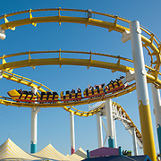 Roller coaster at Santa Monica Pier amusement park, CA.USA.