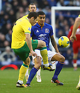 Picture by Paul Chesterton/Focus Images Ltd.  07904 640267.17/12/11.Andrew Crofts of Norwich and Tim Cahill of Everton in action during the Barclays Premier League match at Goodison Park Stadium, Liverpool.