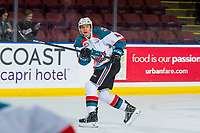 KELOWNA, CANADA - JANUARY 25: Devin Steffler #4 of the Kelowna Rockets passes the puck against the Victoria Royals  on January 25, 2019 at Prospera Place in Kelowna, British Columbia, Canada.  (Photo by Marissa Baecker/Shoot the Breeze)