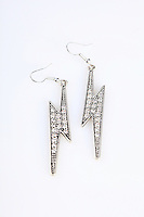 Earrings on white background