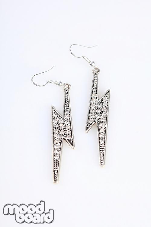 Earrings on white background