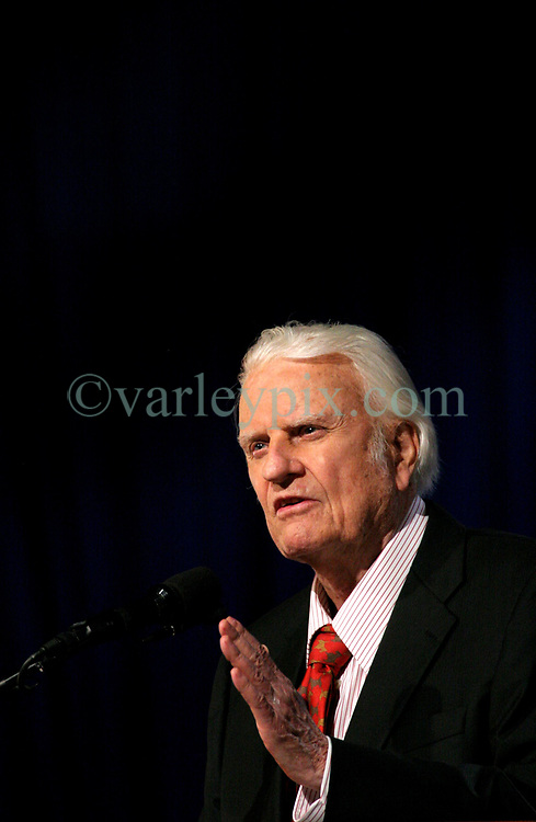 March 12th, 2006. New Orleans, Louisiana. <br /> Claiming this to be his last event preaching from the pulpit, the world's most famous evangelist, The Reverend Billy Graham addresses a capacity crowd at the New Orleans Arena as he brings his 'Celebration of Hope' weekend event to an end.<br /> Photo&copy;; Charlie Varley/varleypix.com