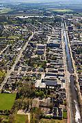 Nederland, Groningen, Gemeente Stadskanaal,  01-05-2013; Musselkanaal met langs het water de Markstraat. Het kanaal werd aangelegd voor de vervoer van turf uit de nabijgelegen veenkolonien.<br /> <br /> QQQ<br /> luchtfoto (toeslag op standard tarieven)<br /> aerial photo (additional fee required)<br /> copyright foto/photo Siebe Swart