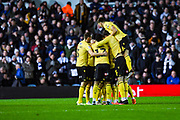 Millwall defender Shaun Hutchinson (4) scores a goal and celebrates with team mates to make the score 0-1 during the EFL Sky Bet Championship match between Leeds United and Millwall at Elland Road, Leeds, England on 28 January 2020.