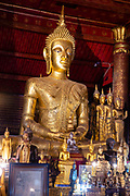 Interior view of Wat May Souvannapoumaram, Luang Prabang, Laos.