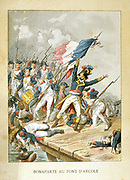Napoleon Bonaprte leading his troops across the bridge at Arcole (Arcola).   French victory over the Austrians  15 November 1796.  Popular French hand-coloured woodcut.