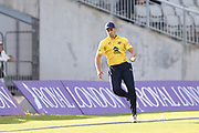 Aaron Thomason of the Birmingham Bears catches on the line so not out during the Vitality T20 Blast North Group match between Lancashire Lightning and Birmingham Bears at the Emirates, Old Trafford, Manchester, United Kingdom on 10 August 2018.