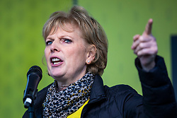 "© Licensed to London News Pictures. 23/03/2019. London, UK. Independent Group MP Anna Soubry speaks in Parliament Square after an estimated one million people marched through central London to demand that government allow a ""People's Vote"" on the Brexit deal. Several key votes will be held in Parliament in the coming week. Photo credit: Rob Pinney/LNP"