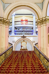 Inside the Scarborough Grand Hotel a Grade II listed building Dominating the the town's South Bay. When completed in 1867 it was one of the largest hotels in the world, as well as one of the first giant purpose-built hotels in Europe. The hotel is in the shape of a 'V' in honour of Queen Victoria and was designed around the theme of time: <br /> 4 towers to represent the seasons, <br /> 12 floors for the months of the year, <br /> 52 chimneys symbolise the weeks, <br /> originally there were 365 bedrooms - one for each day of the year. <br /> As Scarborough was a famous 'Spa Town' in its heyday the Grand hotels baths included an extra pair of taps so guests could wash in seawater as well as fresh water.<br /> The hotel was badly damaged when the German Navy bombarded the town in 1914.<br /> Three blue plaques outside mark where the novelist Anne Brontë died in 1849, the contribution of the RAF trainees stationed at the hotel during the Second World War, and the original opening of the building.<br />  11 July 2016<br />  Copyright Paul David Drabble<br />  www.pauldaviddrabble.photoshelter.comom
