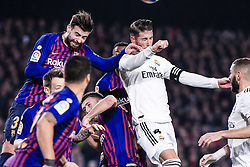 February 6, 2019 - Barcelona, Spain - 03 Gerard Pique of FC Barcelona and 04 Sergio Ramos of Real Madrid during the semi-final first leg of Spanish King Cup / Copa del Rey football match between FC Barcelona and Real Madrid on 04 of February of 2019 at Camp Nou stadium in Barcelona, Spain  (Credit Image: © Xavier Bonilla/NurPhoto via ZUMA Press)
