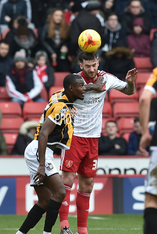 Sheffield United defender, on loan from Birmingham City, David Edgar and Theo Robinson of Port Vale go for the ball  during the Sky Bet League 1 match between Sheffield Utd and Port Vale at Bramall Lane, Sheffield, England on 20 February 2016. Photo by Ian Lyall.