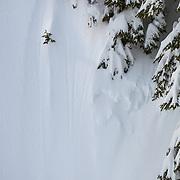 Tyler Hatcher skis fresh powder in the Mount Baker backcountry.
