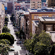 Looking south down Jones Street from the intersection with Bush Street, San Francisco, California.