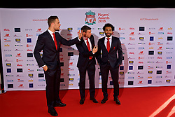 LIVERPOOL, ENGLAND - Thursday, May 10, 2018: Liverpool's captain Jordan Henderson, James Milner and Mohamed Salah arrive on the red carpet for the Liverpool FC Players' Awards 2018 at Anfield. (Pic by David Rawcliffe/Propaganda)