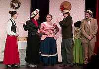 Kaity Mize as Minnie Fay, Colleen O'Brien as Mrs. Irene Malloy, Kate Persson as Dolly Levi, Shawn Zappala as Cornelius Hackl and Michael VonGeorge as Barnaby Tucker during Hello Dolly dress rehearsal at the Laconia High School on Monday afternoon.  (Karen Bobotas/for the Laconia Daily Sun)