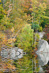 Fall foliage and a pond on Millstone Hill in Barre, Vermont.  Abandoned granite quarry.  Fall. Millstone Trail Association.