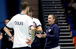 Bristol Jets Head Coach Rebecca Pantany talks to Chris Coles (Capt) of Bristol Jets and Richard Eidestedt of Bristol Jets during a time out - Photo mandatory by-line: Robbie Stephenson/JMP - 07/11/2016 - BADMINTON - University of Derby - Derby, England - Team Derby v Bristol Jets - AJ Bell National Badminton League