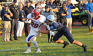 Neshaminy's Chris James #29 runs to the end zone for a touchdown as North Penn's Sean Brennan #14 defends the first quarter of the Neshaminy at North Penn footballgame Friday, August 23, 2019 at North Penn High School in Towamencin, Pennsylvania. (WILLIAM THOMAS CAIN / PHOTOJOURNALIST)