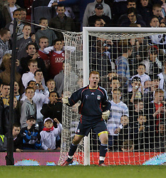 Manchester, England - Thursday, April 26, 2007: Liverpool's goalkeeper David Roberts celebrates after saving the first penalty of the shoot-out from Manchester United's Magnus Eikrem during the FA Youth Cup Final 2nd Leg at Old Trafford. (Pic by David Rawcliffe/Propaganda)