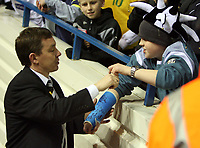 Photo: Rich Eaton.<br /> <br /> Birmingham City v Derby County. Coca Cola Championship. 09/03/2007. Billy Davies the Preston manager signs an autograph for a fan